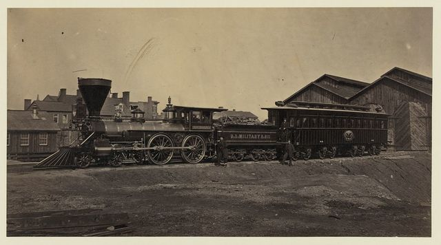 Engine W. H. Whiton, and President's car, Alexandria, January,1865