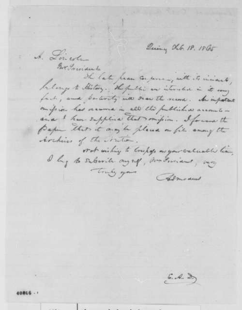 [Evert A. Duyckinck] to Abraham Lincoln, Saturday, February 18, 1865  (Sends clipping that contains story Lincoln allegedly told at Hampton Roads conference)