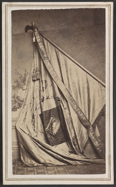 [Excelsior Banner awarded to the 50th Illinois Infantry Regiment as first prize in a drill competition] / Mrs. W. A. Reed, artist, No. 81-1/2 Hamshire Street, Quincy, Illinois.