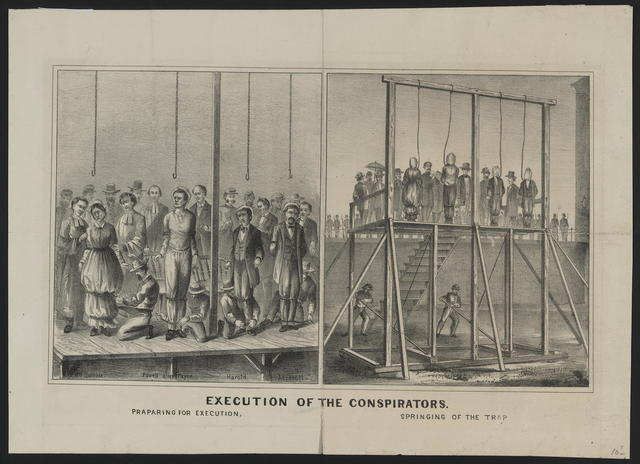 Execution of the conspirators. Praparing [sic] for execution, springing the trap [done] in two panels.
