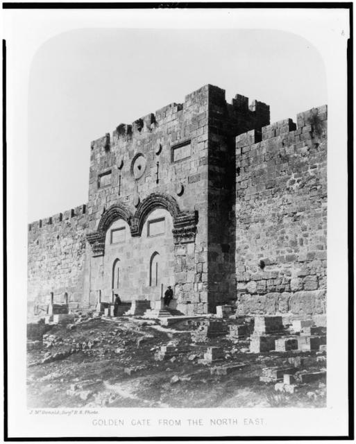 Exterior of the Haram-Ash-Shárif. Golden Gate from the North East / J. McDonald, Sergt. R.E. photo.