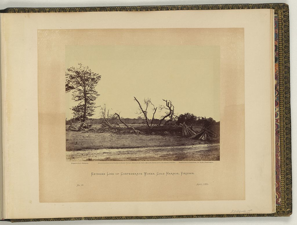 Extreme line of Confederate works, Cold Harbor, Virginia / negative by J. Reekie, positive by A. Gardner.