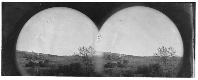 Farmville, Virginia (vicinity). Distance view of High bridge of the South Side Railroad across the Appomattox