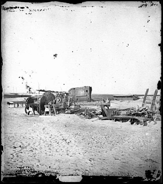 [Folly Island, S.C. (vicinity of Charleston). Beached remains of the British-built blockade runner Ruby, run aground after passing the Federal squadron, June 10-11, 1863]