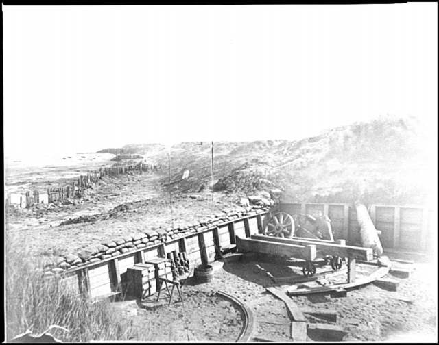 [Fort Fisher, N.C. View of the land front, showing destroyed gun carriage in second traverse]