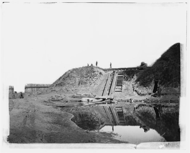 Fort Fisher, North Carolina. View of first traverse northwest end showing entrance to fort