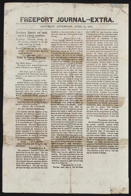 Freeport Journal, [newspaper]. April 15, 1865.