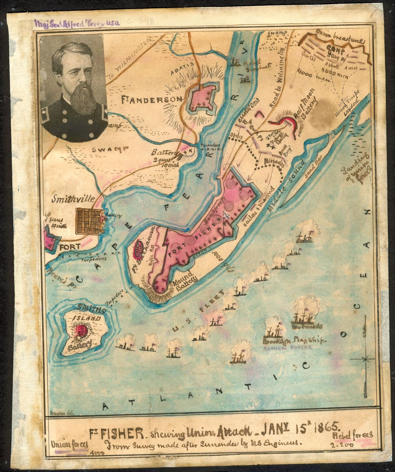 Ft Fisher Shewing Sic Union Attack Jany 15th 1865 From Survey - Map-of-us-in-1865