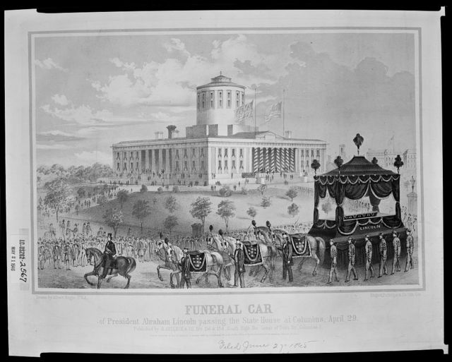 Funeral car of President Abraham Lincoln passing the State House at Columbus, April 29 / drawn by Albert Ruger U.S.A. ; Ehrgott, Forbriger & Co., lith, Cin.