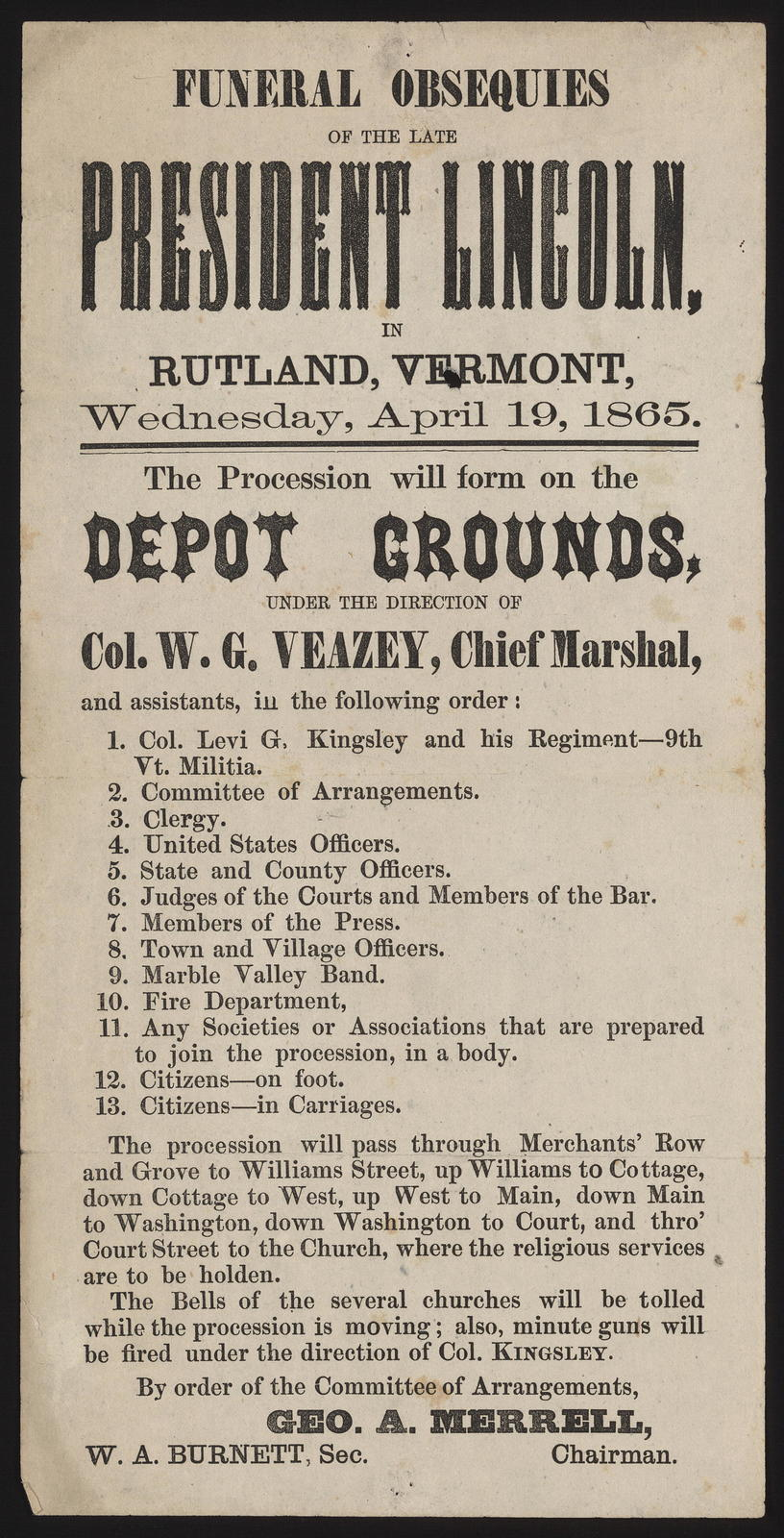 Funeral obsequies of the late President Lincoln, in Rutland Vermont, Wednesday, April 19, 1865.