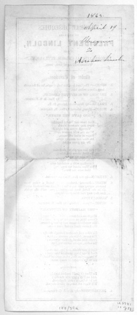 Funeral obsequies of the late President Lincoln, in the Congregational church, Rutland, Vt. Wednesday, April 19th, 1865. Order of exercises ... [Rutland, Vt. 1865].