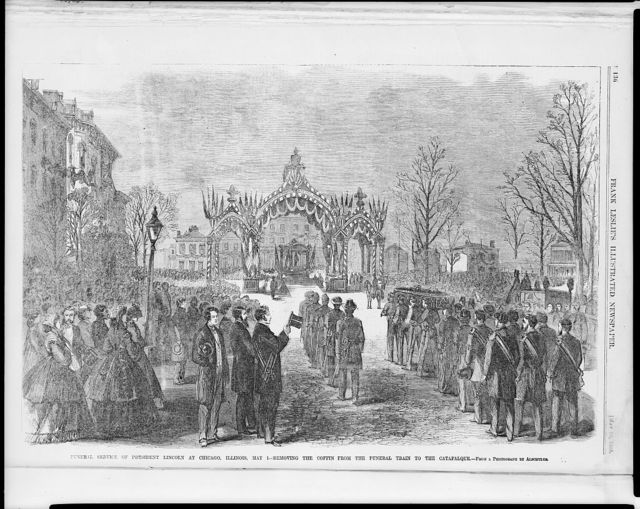 Funeral service of President Lincoln at Chicago, Illinois, May 1.  Removing the coffin from the funeral train to the catafalque