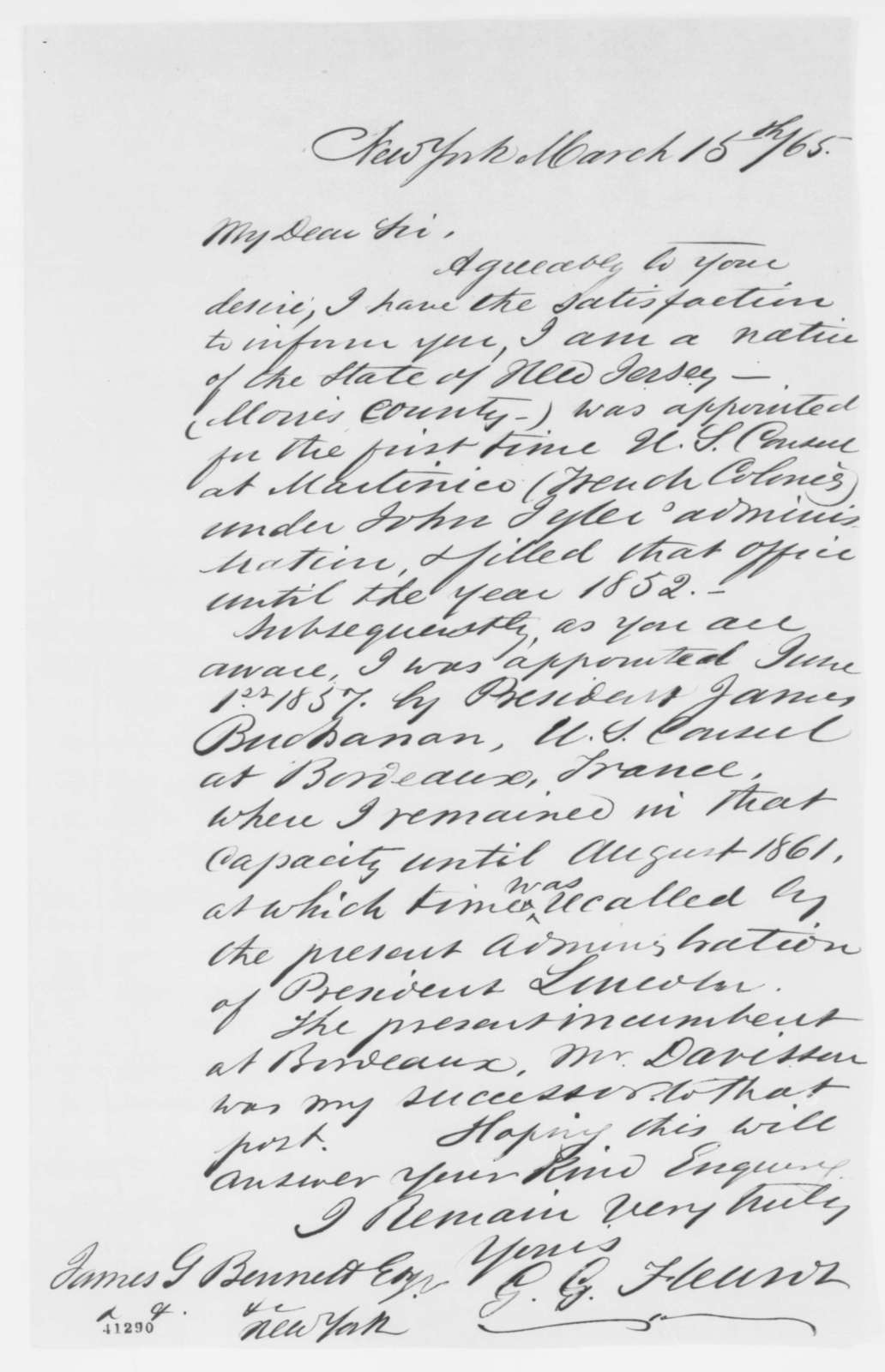 Gabriel G. Fleurot to James Gordon Bennett, Wednesday, March 15, 1865  (Diplomatic patronage)