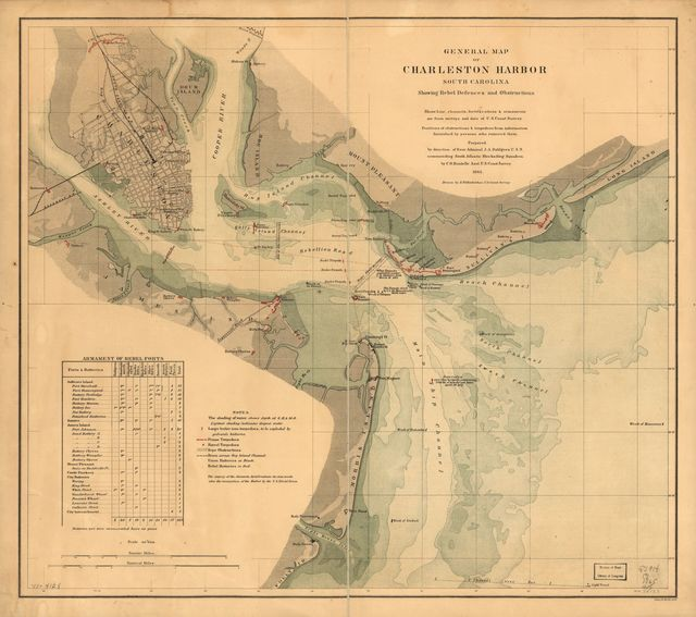 General map of Charleston Harbor, South Carolina, showing rebel defences and obstructions.