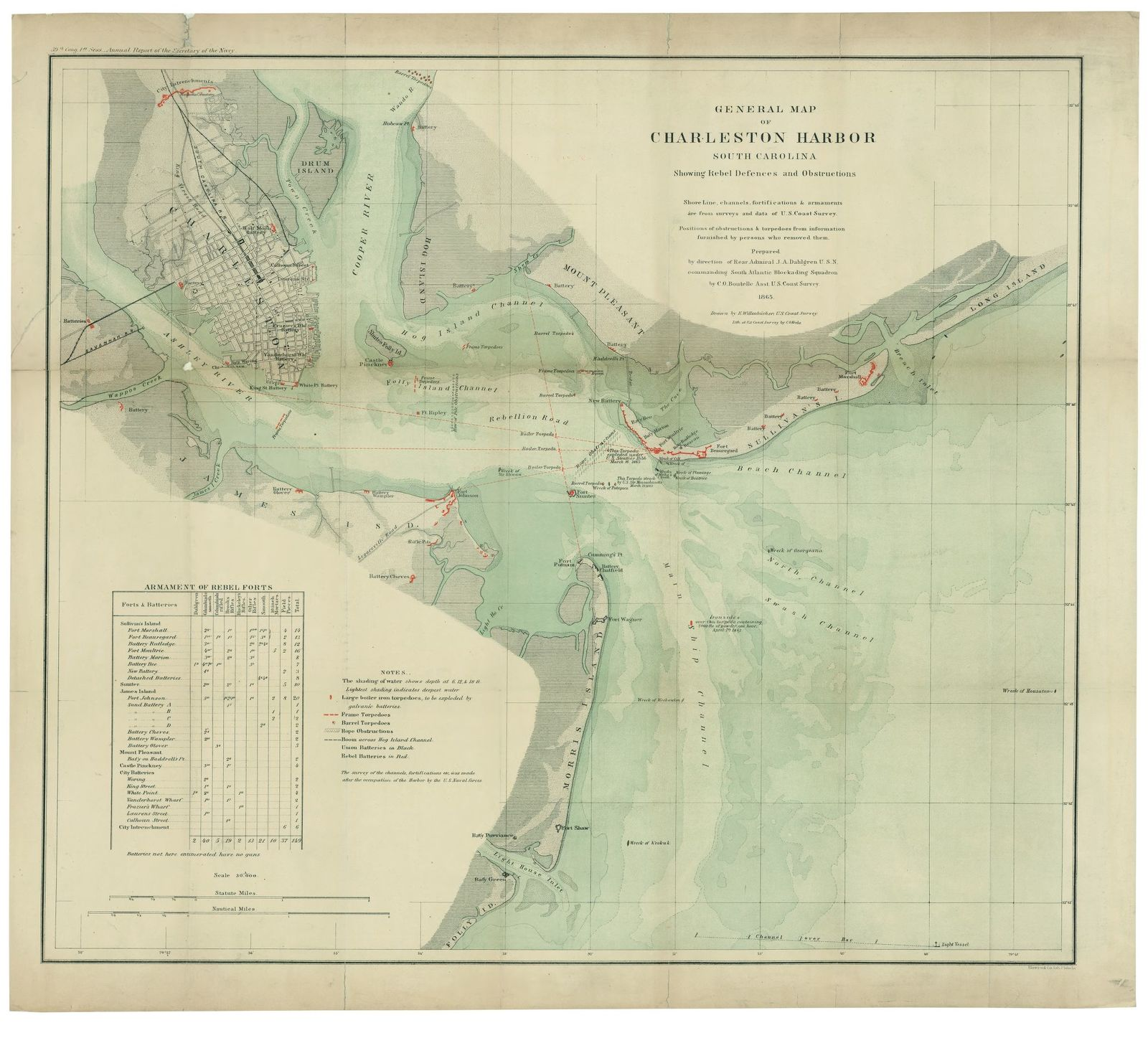 General map of Charleston Harbor, South Carolina : showing rebel defences [sic] and obstructions /