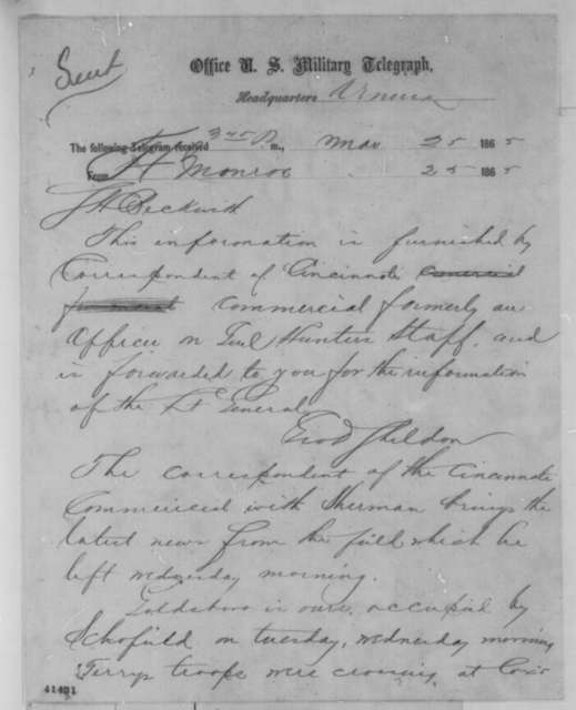 George D. Sheldon to Samuel Beckwith, Saturday, March 25, 1865  (Telegram reporting news from Gen. Sherman)