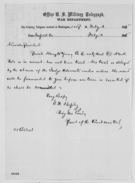 George F. Shepley to Abraham Lincoln, Thursday, February 02, 1865  (Telegram concerning case of Henry Young)
