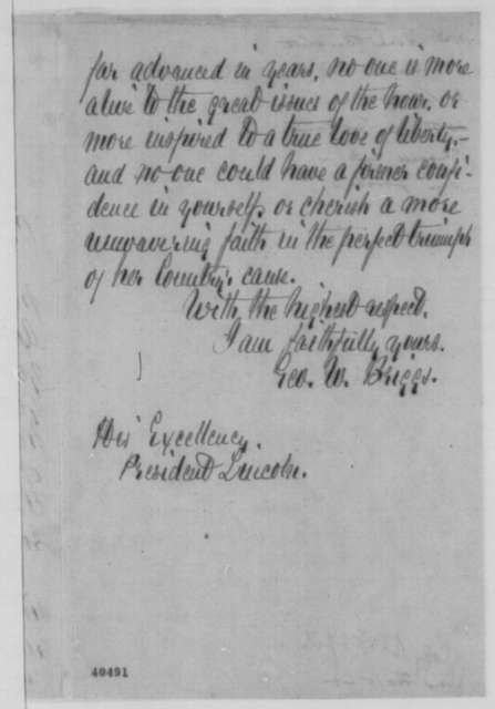 George W. Briggs to Abraham Lincoln, Tuesday, February 07, 1865  (Sends socks; with endorsement)