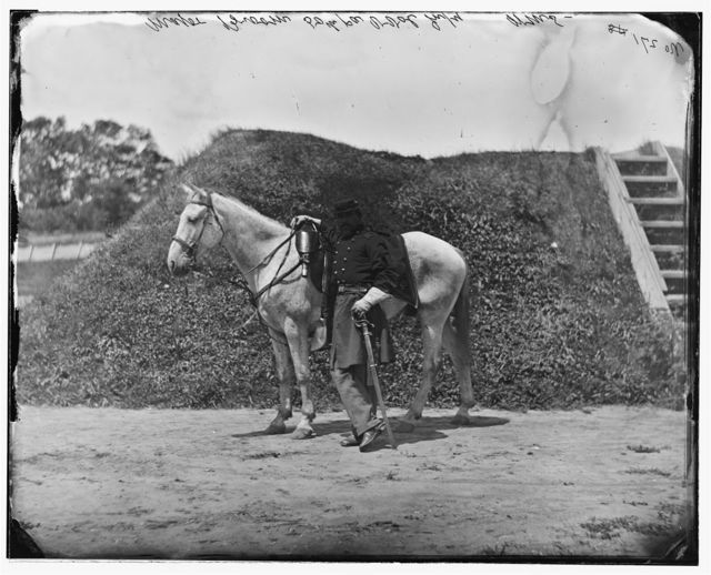 Gettysburg, Pennsylvania. Major George W. Brumm & Co F, (and horse), 50th Pennsylvania Infantry