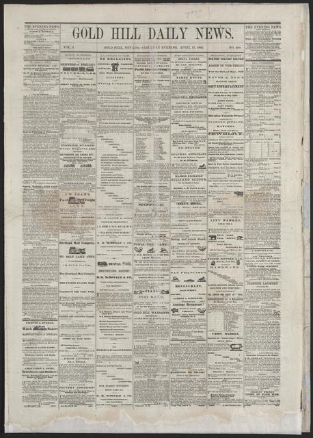 Gold Hill Daily News, [newspaper]. April 15th, 1865.