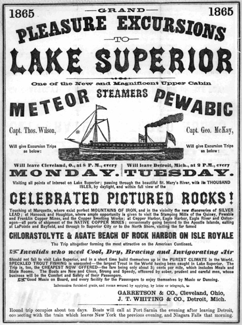 Grand pleasure excursions to Lake Superior one of the new magnificent upper cabin meteor steamers Pewabic. Will give excursion trips as below ... [Cleveland, 1865].