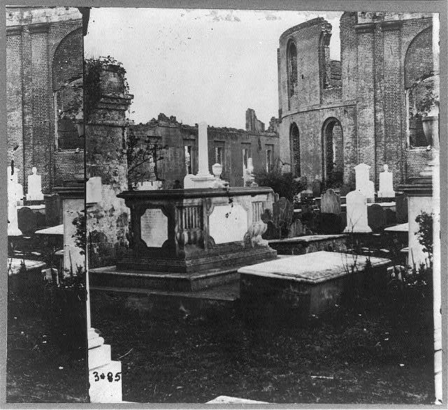Graveyard of Circular Church and ruins of Secession Hall in distance, Charleston, S.C. April 1865