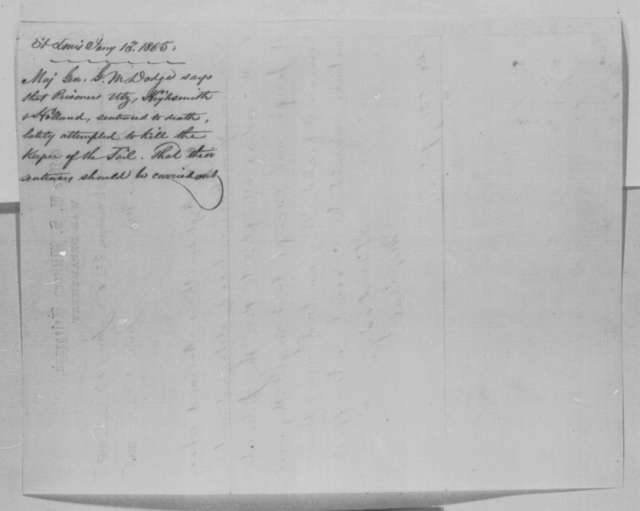 Grenville M. Dodge to Abraham Lincoln, Friday, January 13, 1865  (Telegram concerning cases of Utz, Holland and Highsmith)