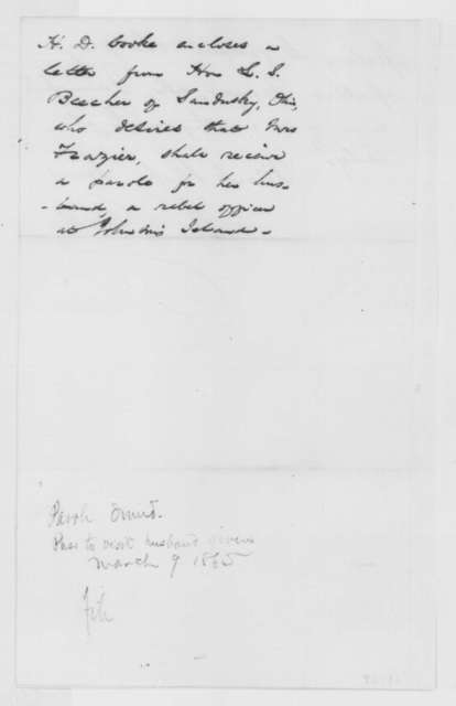 Henry D. Cooke to Abraham Lincoln, Tuesday, March 07, 1865  (Parole for Charles W. Frazier; endorsed by John Hay)