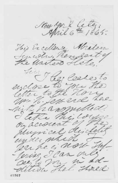 Henry S. Foote to Abraham Lincoln, Thursday, April 06, 1865  (Cover letter)