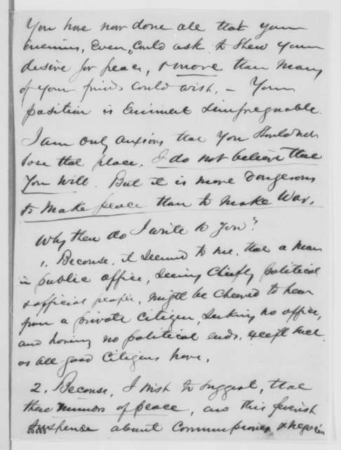 Henry Ward Beecher to Abraham Lincoln, Saturday, February 04, 1865  (Hampton Roads Conference and interview with Lincoln)