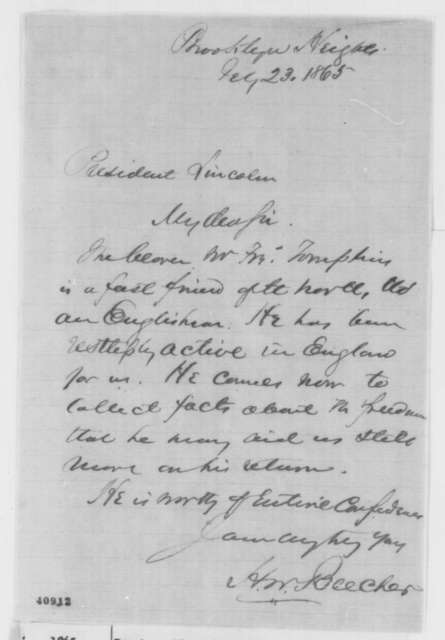 Henry Ward Beecher to Abraham Lincoln, Thursday, February 23, 1865  (Introduction)