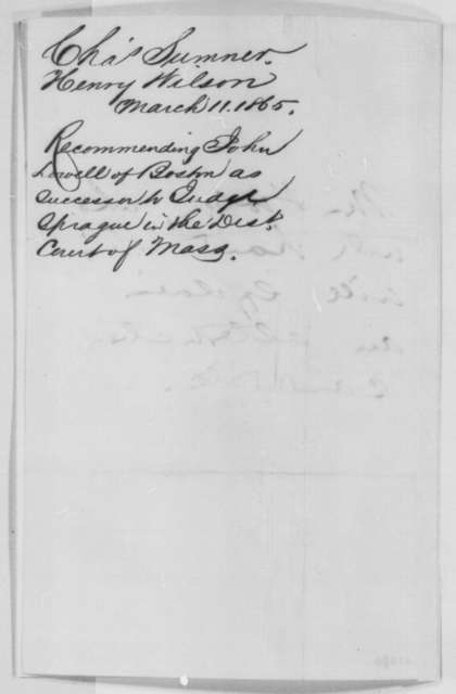 Henry Wilson and Charles Sumner to Abraham Lincoln, Saturday, March 11, 1865  (Recommendation)