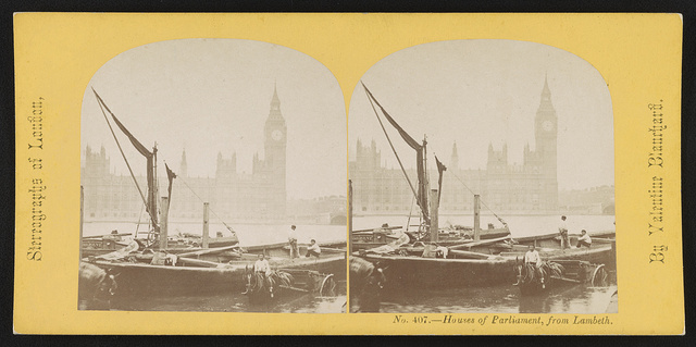 Houses of Parliament, from Lambeth Bridge / By Valentine Blanchard.