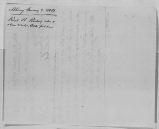 Hugh H. Hastings to Abraham Lincoln, Monday, January 02, 1865  (Telegram concerning New York politics)