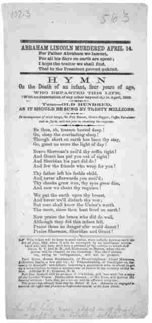 ... Hymn on the death of an infant four years of age, who departed this life, (with no expectation of any other beyond it,) in April 1865. Tune--- Old Hundred, as it should be sung by thirty millions ... This infant will be kept in state (what s
