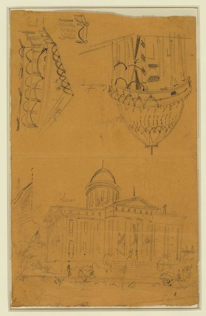 [Illinois statehouse, Springfield, Ill, with details showing draped bunting on dome]