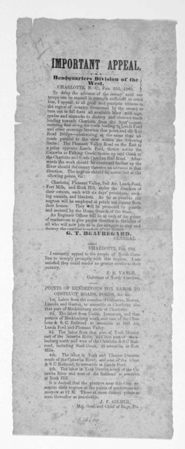 Important appeal. Headquarters Division of the West. Charlotte. N. C. Feb. 23d, 1865 To delay the advance of the enemy until our troops can be massed in strength sufficient to crush him, I appeal to all good and patriotic citizens ... to turn ou