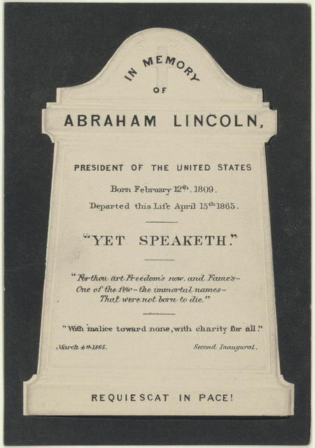 In memory of Abraham Lincoln, president of the United States.