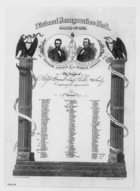 Inauguration Ball to Mr. and Mrs. Lazarus Noble, Saturday, March 04, 1865  (Printed Invitation)