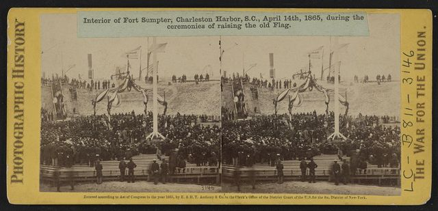 Interior of Fort Sumpter (i.e. Sumter), Charleston Harbor, S.C., April 14th, 1865, during the ceremonies of raising the old flag