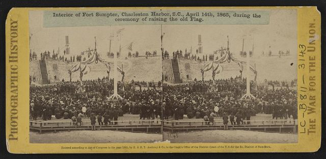 Interior of Fort Sumpter (i.e. Sumter), Charleston Harbor, S.C., April 14th, 1865, during the ceremony of raising the old flag