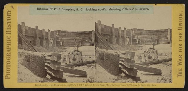 Interior of Fort Sumpter (i.e. Sumter), S.C., looking south, showing officers' quarters