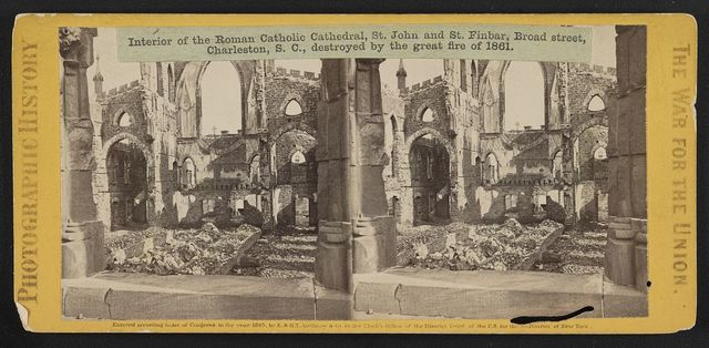 Interior of the Roman Catholic Cathedral, St. John and St. Finbar, Broad Street, Charleston, S.C., destroyed by the great fire of 1861