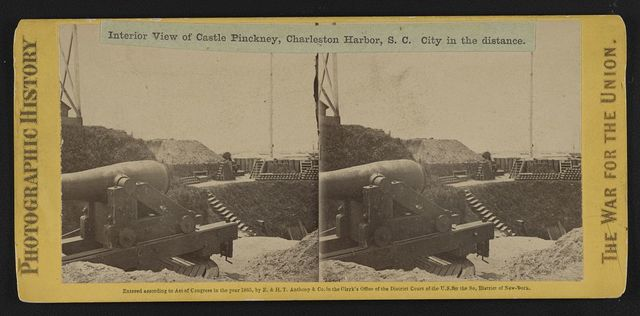 Interior view of Castle Pinckney, Charleston Harbor, S.C. City in the distance