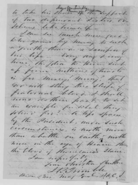 Isaac R. Trimble to Charles McIlvaine, Wednesday, February 08, 1865  (Case of Samuel B. Davis)