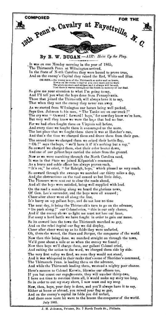 It was on one Monday morning ... By B. W. Dugan. Air Hoist up the flag. J. H. Johnson, Printer, No 7 North 10th street, Philada. July 1865