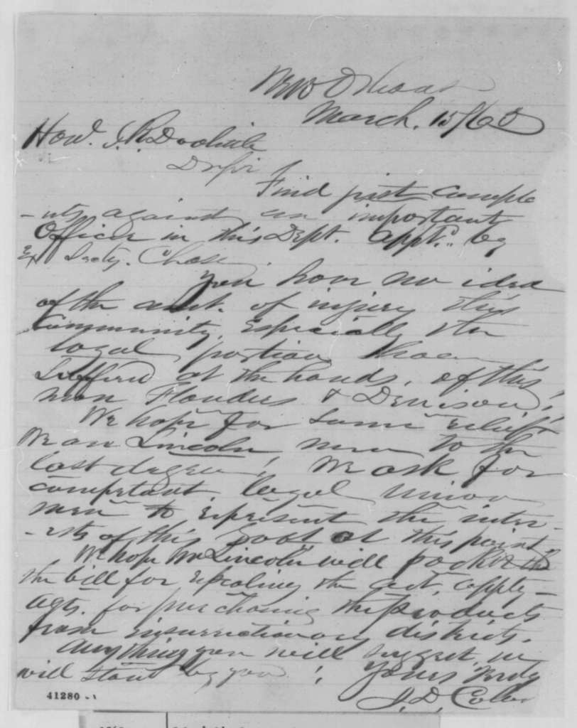 J. D. Colver to James R. Doolittle, Wednesday, March 15, 1865  (Affairs in Louisiana)