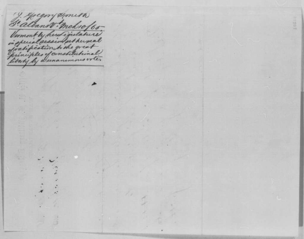 J. Gregory Smith to Abraham Lincoln, Friday, March 10, 1865  (Telegram reporting ratification of 13th Amendment in Vermont)