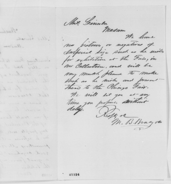 James P. Root to Mary Todd Lincoln, Tuesday, March 07, 1865  (Requests photograph for Chicago Sanitary Fair; with note from Mathew Brady to Mrs. Lincoln)