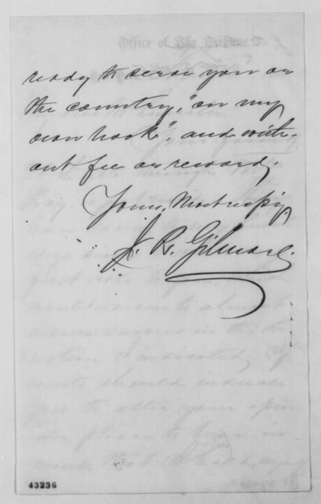 James R. Gilmore to Abraham Lincoln, Thursday, February 02, 1865  (Acknowledgment)